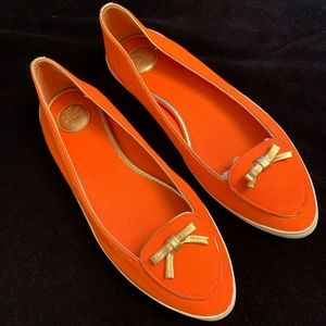 Orange & Gold Linen Loafers by Tory Burch. 8.5